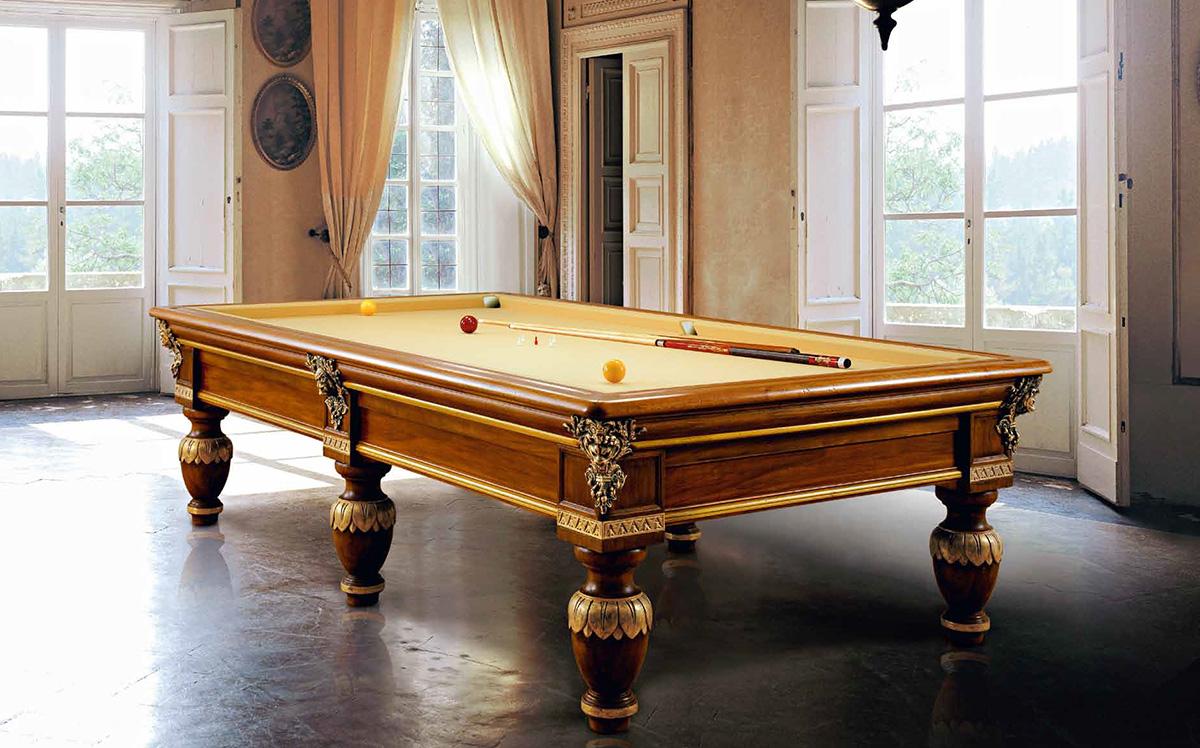 Tavolo biliardo tradizionale Gaggiolo con magnifiche decorazioni oro