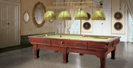 Biliardo tradizionale Napoleone Noce interamente in legno massello